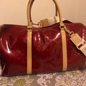 Red Patent Leather Travel Bag